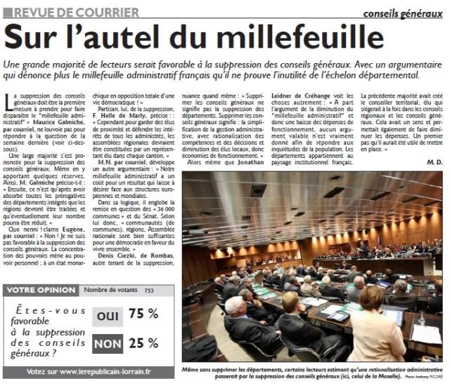 RL 22.04.14 - Sur l'autel du millefeuille (revue du courrier)