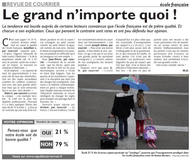 RL 23.09.14 - Ecole française, le grand n'importe quoi (Revue du courrier)