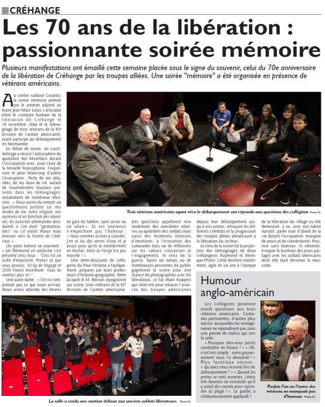 RL 23.11.14 - Les 70 ans de la libération, passionnante soirée mémoire