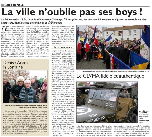 RL 25.11.14 - La ville n'oublie pas ses boys