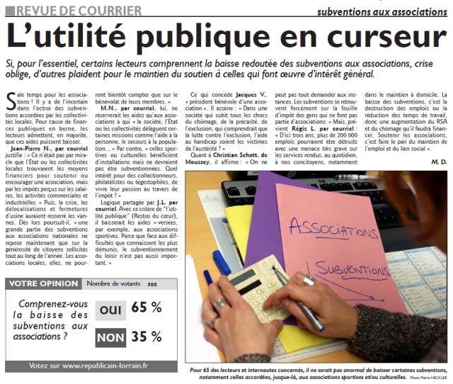 RL 02.12.14 - L'utilité publique en curseur (revue du courrier)