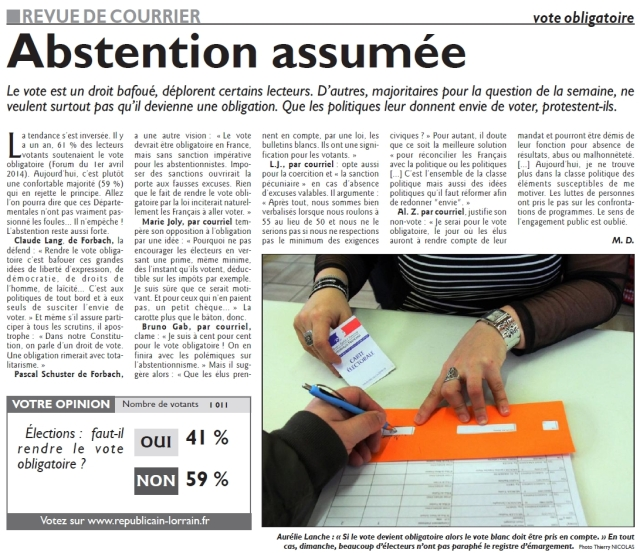 RL 24.03.15 - Abstention assumée (revue du courrier dont JL)