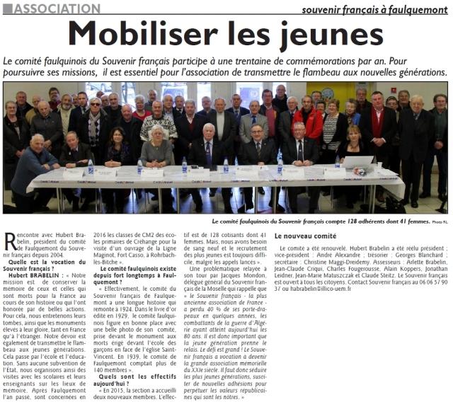 RL 07.02.16 - Mobiliser les jeines (Souvenir Français de Faulquemont)